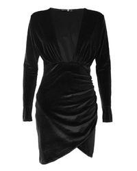 Boohoo Black Velvet Plunge Neck Wrap Bodycon Dress