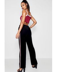 Boohoo - Black Side Stripe Cord Wide Leg Trousers - Lyst