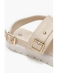 Boohoo Natural Buckle Cleated Sandals