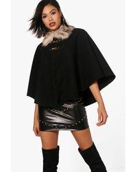 Boohoo Black Naomi Faux Fur Collar Cape