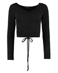 Boohoo - Black Evelyn Long Sleeve Ruched Front Top - Lyst