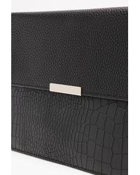 Boohoo - Black Croc & Pu Envelope Clutch - Lyst