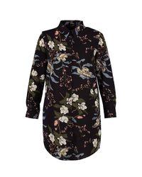 Boohoo Black Plus Katy Floral Shirt Dress
