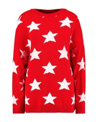 Boohoo - Red Oversized Star Knitted Jumper - Lyst