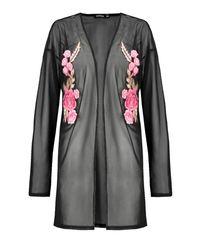 Boohoo - Black Clara Embroidered Mesh Kimono - Lyst
