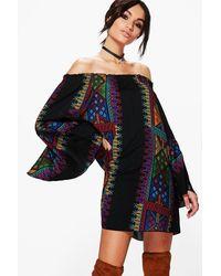 Boohoo - Black Panel Print Off Shoulder Shift Dress - Lyst