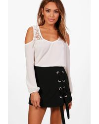 Boohoo - White Daisy Lace Detail Cold Shoulder Blouse - Lyst
