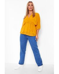 Boohoo Yellow Plus Dobby Mesh Wrap Belted Peplum Top