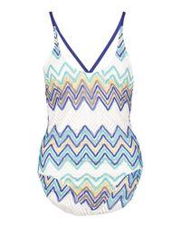 Boohoo - Blue Crochet Zig Zag Cross Back Swimsuit - Lyst
