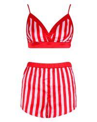 Boohoo Womens Stripe Bralet & Short Set - Pink - 8