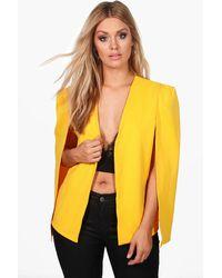Boohoo Yellow Plus Penny Tailored Crepe Cape