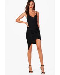 Boohoo Black Tall Strappy Wrap Asymmetric Dress