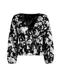 Boohoo - Black Petite Bold Floral Wrap Blouse - Lyst