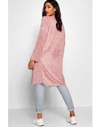 Boohoo - Pink Fluffy Eyelash Knit Midi Cardigan - Lyst
