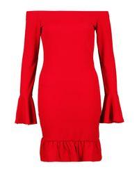 Boohoo Red Ruffle Hem & Sleeve Bardot Bodycon Dress