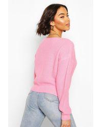 Jersey De Pescador Corto Con Cuello De Pico Boohoo de color Pink