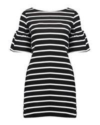 Boohoo Black Rosie Stripe Ruffle Sleeve Shift Dress