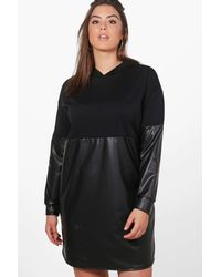 Boohoo - Black Plus Louise Leather Look Contrast Sweat Dress - Lyst