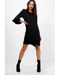 Boohoo Black Sleeve Detail Shift Dress