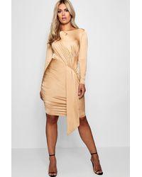 Boohoo - Multicolor Plus Layla Slinky Tie Front Mini Dress - Lyst