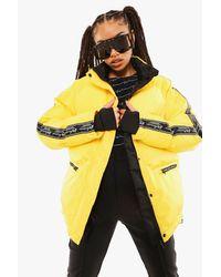 Chaqueta De Esquí Con Detalle De Cinta De Lujo Boohoo de color Yellow