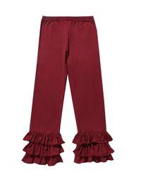 Boohoo Red Girls Three Tier Ruffle Trouser
