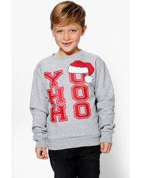 Boohoo Gray Boys Yo Ho Ho Christmas Jumper for men