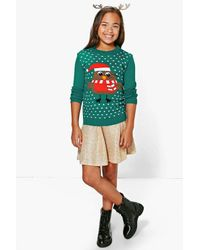 Boohoo Green Girls Robin Christmas Jumper