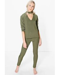 Boohoo Green Mia Long Sleeve Choker T-shirt And Jogger Lounge Set