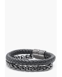 Boohoo - Black Plait And Chain Mix Bracelet - Lyst