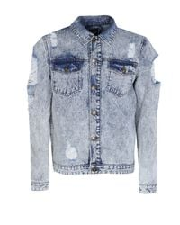 Boohoo Blue Snow Wash Denim Jacket With Open Rips for men