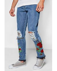 Boohoo Blue Floral Embroidered Skinny Fit Ripped Jeans for men