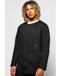 Boohoo - Black Longline Sweatshirt With Zip Panel for Men - Lyst