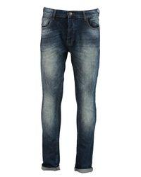 Boohoo Blue Stretch Skinny Fit Inidgo Acid Wash Jeans for men