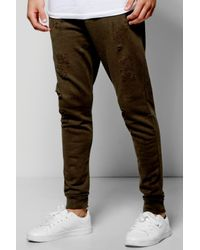 Boohoo Multicolor Skinny Fit Distressed Joggers for men