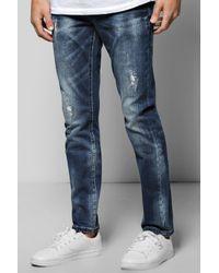 Boohoo Blue Skinny Fit Destroyed Effect Jean for men