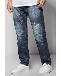 Boohoo Blue Slim Fit Destroyed Jeans for men
