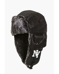 Boohoo Black Ny Faux Fur Lined Trapper for men