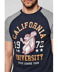 Boohoo - Blue Raglan T-shirt With Front Print for Men - Lyst