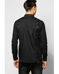 Boohoo - Black Back Strap Shirt for Men - Lyst