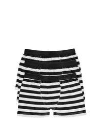 Boohoo - Black 3 Pack Stripe Trunks for Men - Lyst