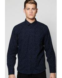 Boohoo Blue Long Sleeve Printed Shirt for men