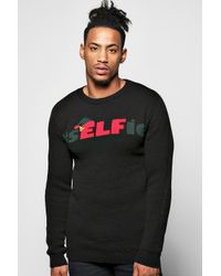 Boohoo Black #selfie Christmas Jumper for men