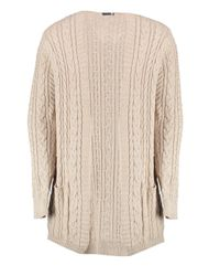 Boohoo Natural Longline Cable Knit Cardigan for men