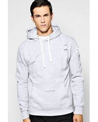 Boohoo | Gray Distressed Over The Head Hoody for Men | Lyst