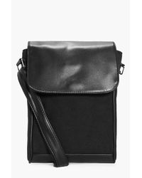 Boohoo - Black Pu And Canvas Mix Cross Body Bag for Men - Lyst