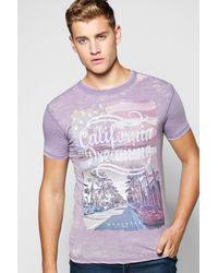 Boohoo Multicolor California Dreaming Printed T Shirt for men