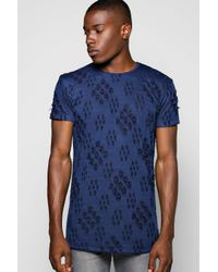 Boohoo Blue Skater Burnout Destroyed T Shirt With Side Zips for men