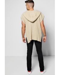Boohoo - Blue Hooded Cap Sleeve Festival Cardigan for Men - Lyst