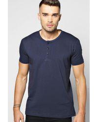 Boohoo Blue Grandad Neck T Shirt for men